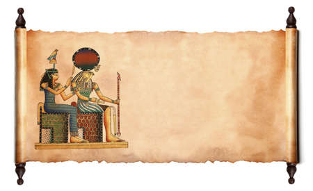 Blader met de Egyptische goden beelden - Farao en Horus. Object over white
