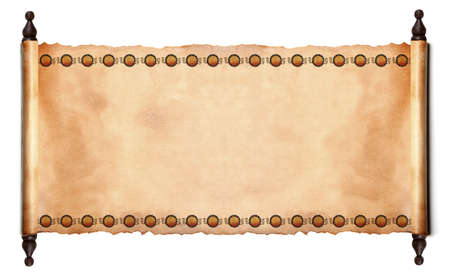 Scroll met Egyptische papyrus. Geà ¯ soleerd op een witte achtergrond