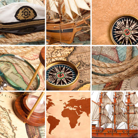 columbus: Marine collage with old compasses and maps