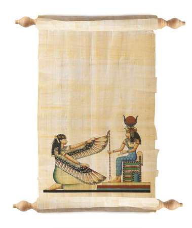 egyptian gods: Scroll with Egyptian gods images - Pharaoh. Object over white