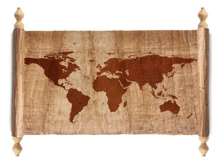 Horizontal Ancient World Map, World background on grunge paper Stock Photo - 17512095