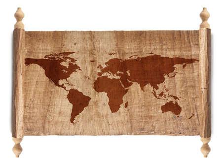 Horizontal Ancient World Map, World background on grunge paper Stock Photo - 17512095
