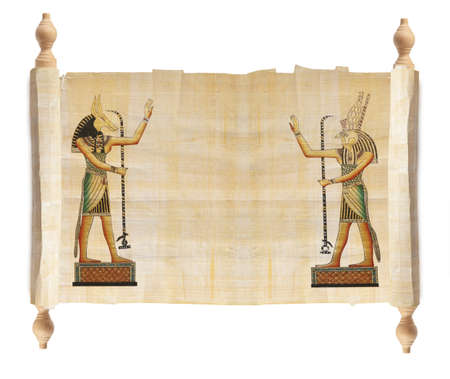 egyptian gods: Scroll with Egyptian gods images - Anubis and Horus  Isolated