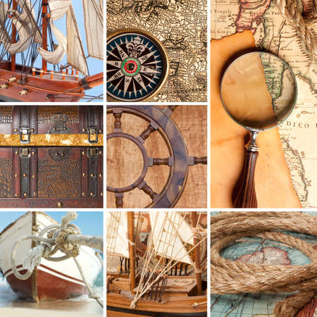 traverse: Marine collage with old compasses and maps