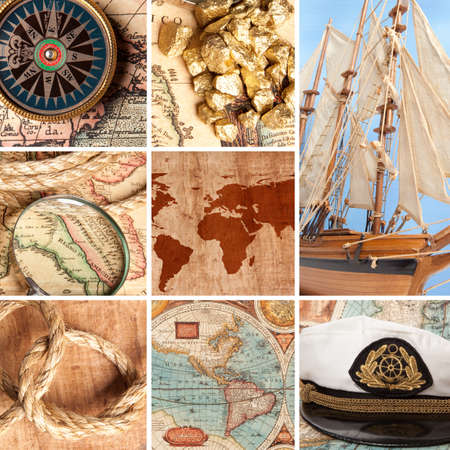 Marine collage with old compasses and maps  photo