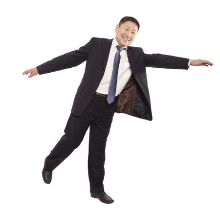 back ground: Asian business man flying isolated on white back ground