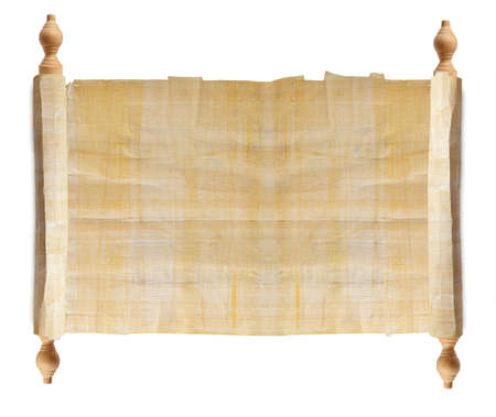 threadbare: Horizontal ancient scroll isolated over a white background  Stock Photo