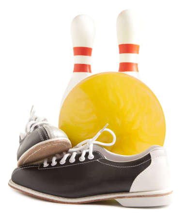 Ball, bowling shoes and bowling pin on a white background photo