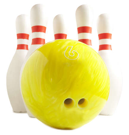 Bowling ball and bowling pin on a white background Stock Photo - 17954362