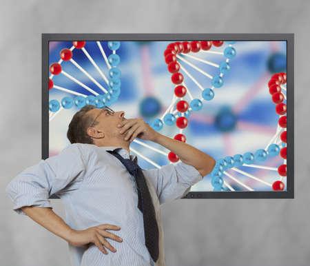 investigates: The scientist investigates DNA structure