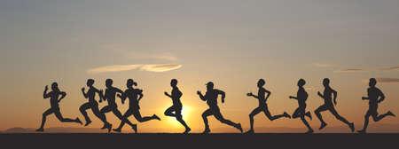 Marathon, zwarte silhouetten van lopers op de zonsondergang