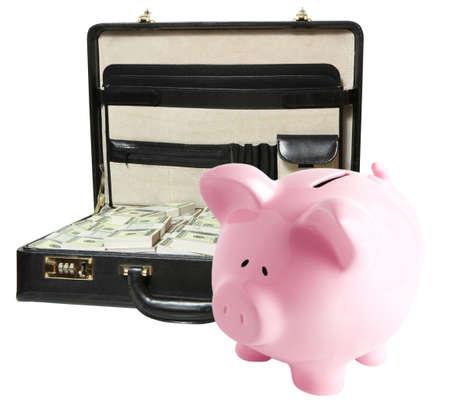 Piggy bank isolated on white background photo