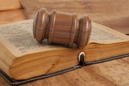 Wooden gavel and old book Stock Photo - 18030382