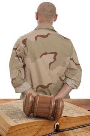 adjourned: Soldier in courtroom isolated on white Stock Photo