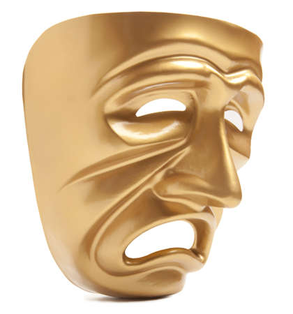 histrionics: Theatrical mask isolated on a white background