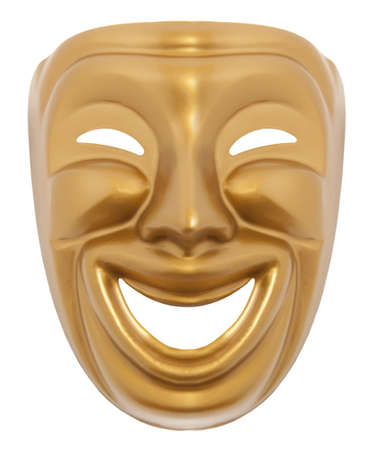 comedy tragedy: Comedy  theatrical mask isolated on a white background Stock Photo