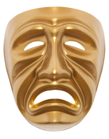 Tragedy theatrical mask isolated on a white background photo