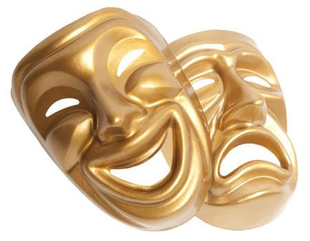 Comedia y tragedia teatral máscara aislado en un fondo blanco