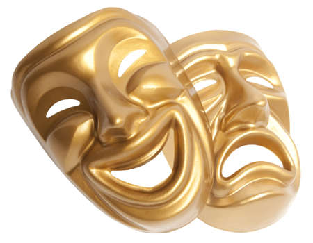 Comedy  and  Tragedy theatrical mask isolated on a white background Stock Photo