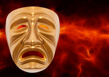 histrionics: Tragedy theatrical mask on a red background