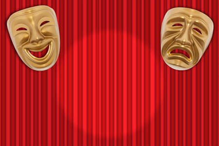 tragedy: Comedy  and Tragedy theatrical mask on a red curtain Stock Photo