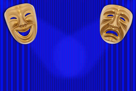 histrionics: Comedy and Tragedy theatrical mask on a curtain Stock Photo