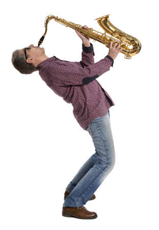 Full length portrait of a man playing on saxophone isolated on background  photo