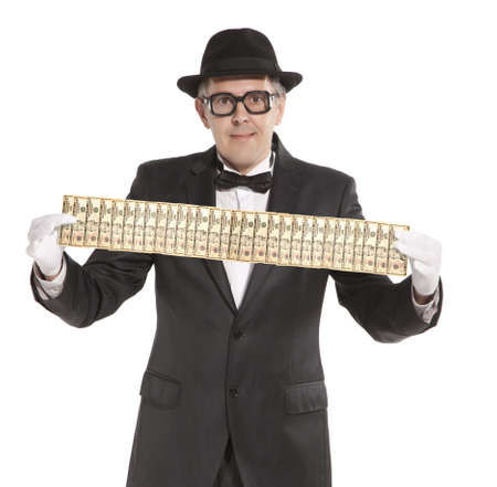 Magician. Happy businessman  with dollars. Isolated over white  photo