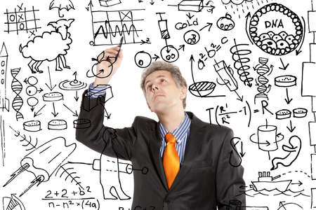 uitvinder: Gekke uitvinder. Foto compilatie en met de hand-tekening elementen gecombineerd