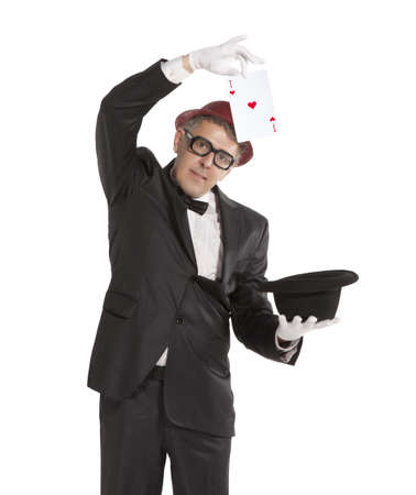 conjuror: Magician show card  Isolated on white background Stock Photo
