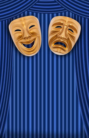 comedy tragedy: Comedy and tragedy theatrical mask on a curtain Stock Photo