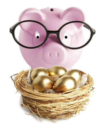 Pink piggy bank and golden egg in the nest photo