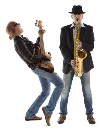 The duo of musicians with guitar and saxophone on a white background photo