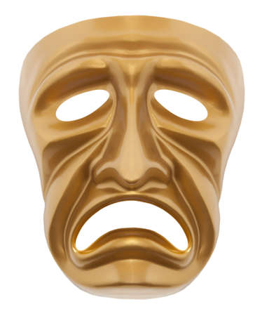 histrionics: Tragedy theatrical mask isolated on a white background