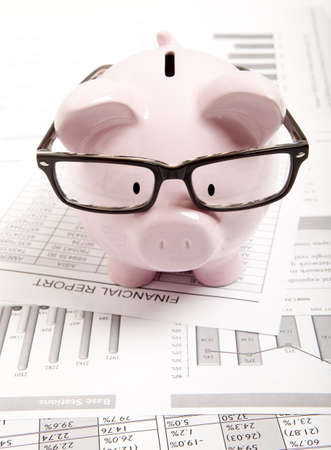 Pink piggy bank and financial report photo