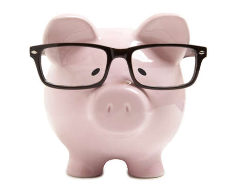 account: Piggy bank with glasses isolated