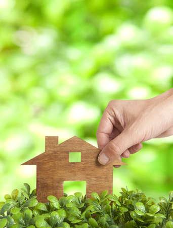 Wooden model house in green field