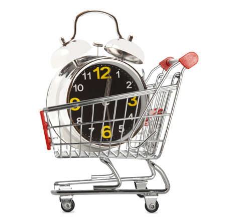 Shopping cart with alarm clock isolated white background  photo