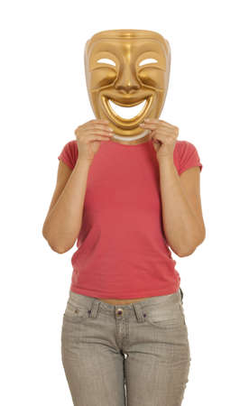 A woman holding a gold mask theater comedy Stock Photo - 20561770