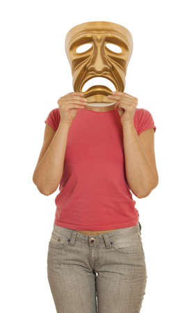 A woman holds a golden theatrical mask of tragedy photo
