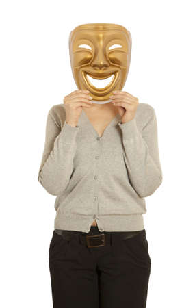 A woman holding a gold mask theater comedy photo