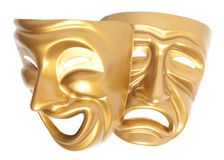 Comedy  and  Tragedy theatrical mask isolated on a white background photo
