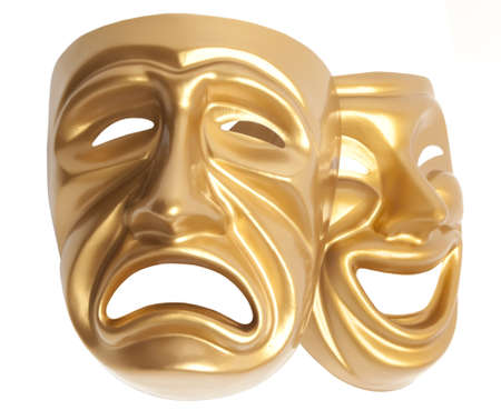 histrionics: Comedy  and  Tragedy theatrical mask isolated on a white background Stock Photo