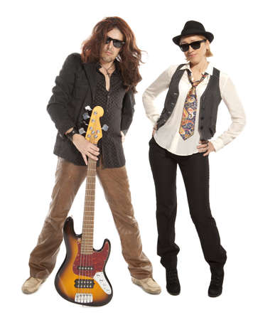 vocalist: Couple duet. Woman and man with guitar on a white background  Stock Photo