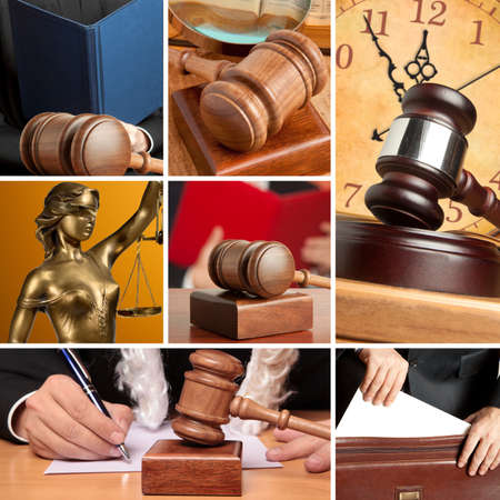 adjourned: Set of wooden gavel and law