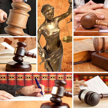 judges: Set of wooden gavel and law 2 Stock Photo