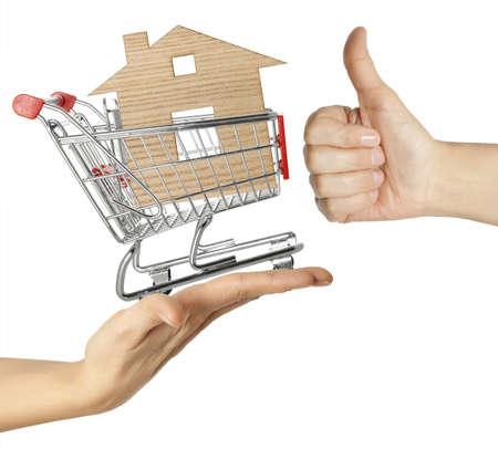 Te koop - model van het huis in winkelwagentje op witte achtergrond Stockfoto