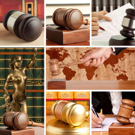 adjourned: Set of wooden gavel and law 2 Stock Photo