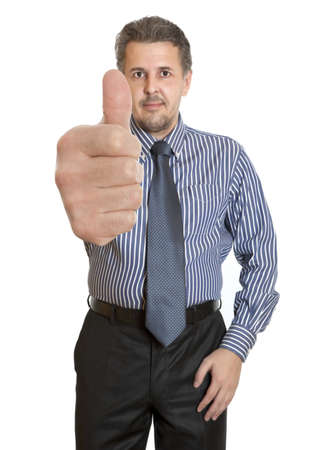 Happy businessman going thumbs up. Isolated on white background Stock Photo - 21024160