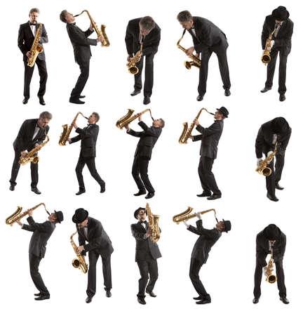 Set Saxophonist. Middle aged man playing on saxophone isolated on background Zdjęcie Seryjne